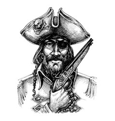 Pirate portrait drawing vector