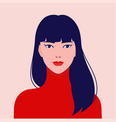 portrait a young beautiful asian fashion woman vector image