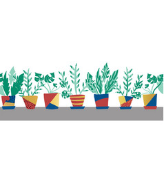 potted plants seamless border repeating vector image