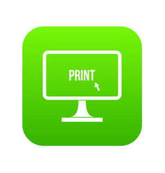 Print word on a computer monitor icon digital vector