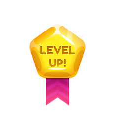 Rating or level up isolated medal ribbon award vector