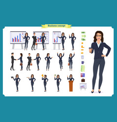ready-to-use lady character set young woman vector image