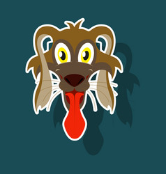 Realistic paper sticker on theme funny animal dog vector