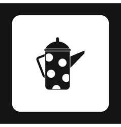 Retro coffee kettle with white dots icon vector