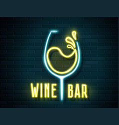 retro neon wine glass sign on wall background vector image