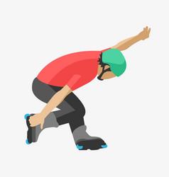 Roller man tricks in skates skating sport extreme vector