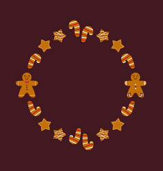 Round frame card template with gingerbread cookie vector
