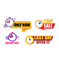 sale countdown badges only now 1 day offer one vector image