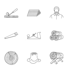 Sawmil and timber set icons in outline style Big vector