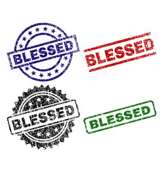 Scratched textured blessed seal stamps vector