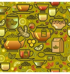 Seamless pattern with tea cup pot lemon and leaf vector