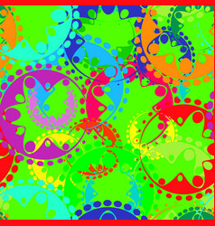 seamless texture of bright green gears and laurel vector image