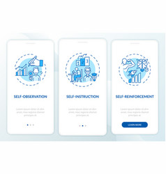 Self-control techniques blue onboarding mobile vector