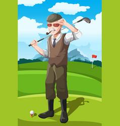senior golfer vector image