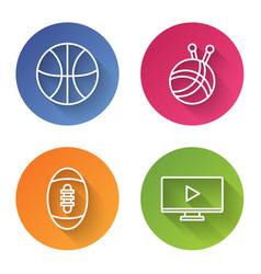 Set line basketball ball yarn ball with knitting vector