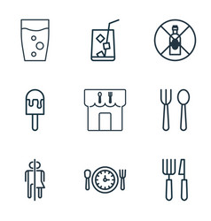 set of 9 food icons includes restroom soda drink vector image