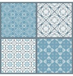 Set of four vintage symmetric seamless patternsai vector image