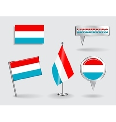 Set of luxembourg pin icon and map pointer flags vector