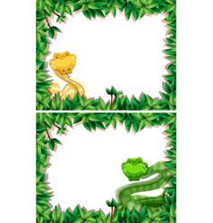 set of snake in nature frame vector image