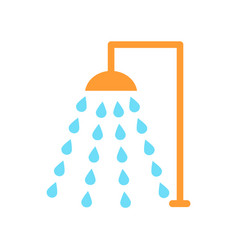 Shower emblem isolated icon cartoon style vector