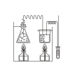 Sketch silhouette of chemical laboratory with an vector