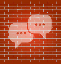 speech bubbles sign whitish icon on brick vector image