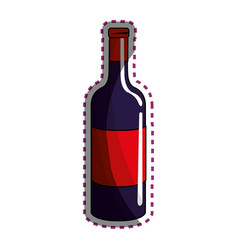 Sticker bottle of wine tasty beverage icon vector