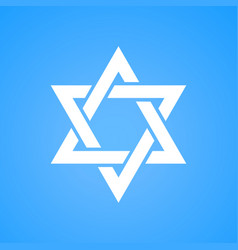 stylized star of david white color on blue vector image