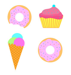 sweet set ice-cream donut cupcake vector image