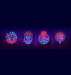 sweets shop is collection logos neon style ice vector image