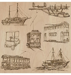 Transport pack - Hand drawn line art vector