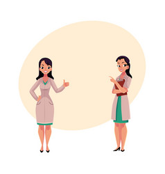 two woman doctors in medical coats thumb up vector image