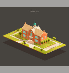 university isometric low poly vector image