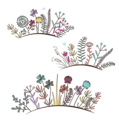Vintage floral horizontal border doodle meadow vector