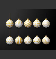 white and gold christmas tree toy oe balls set vector image