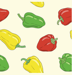 yellow green and red bell pepper seamless pattern vector image