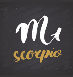 zodiac sign scorpio and lettering hand drawn vector image