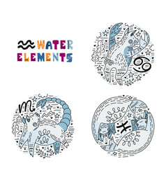 zodiac water elements set vector image