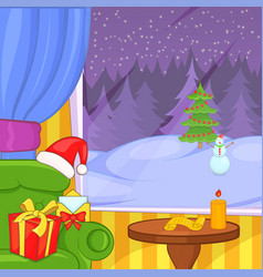 christmas room concept landscape cartoon style vector image vector image