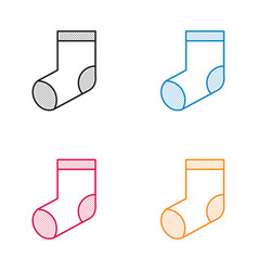 christmas socks icon dotted style vector image