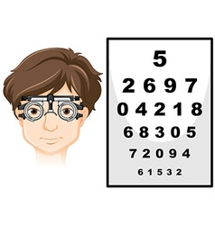 Man wearing eye test glasses and reading chart vector image