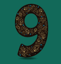 number nine with romantic golden floral decor vector image vector image