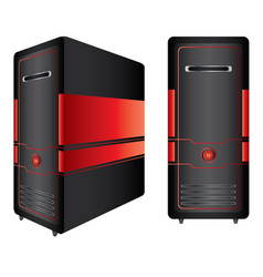 red and black computer case isolated on white vector image