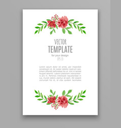 watercolor wedding invitation design with flower vector image