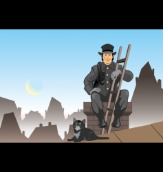 cat and the chimney sweep vector image vector image