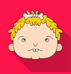 cavechild face icon in flate style isolated on vector image