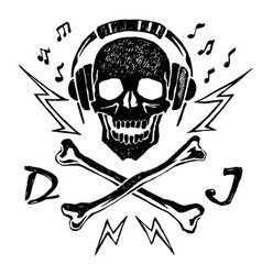 the head of a dead dj vector image