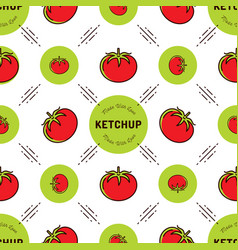 tomato pattern ketchup label seamless background vector image