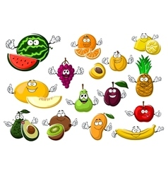 Appetizing ripe tropical and garden fruits vector image vector image