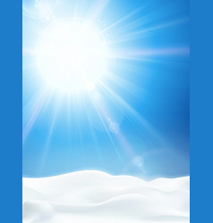 bright clear blue winter sky with sun and snow vector image